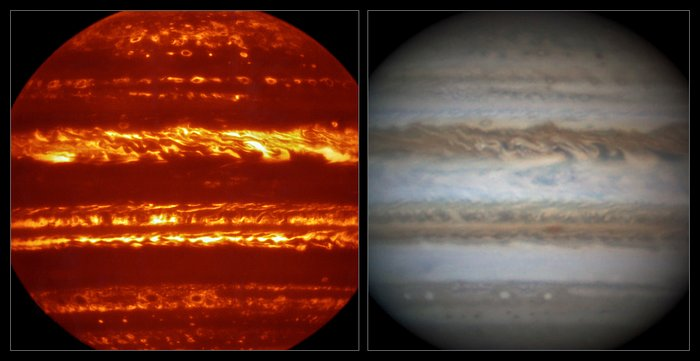 This view compares a lucky imaging view of Jupiter from VISIR (left) at infrared wavelengths with a very sharp amateur image in visible light from about the same time (right). Image Credit: ESO/L.N. Fletcher/Damian Peach