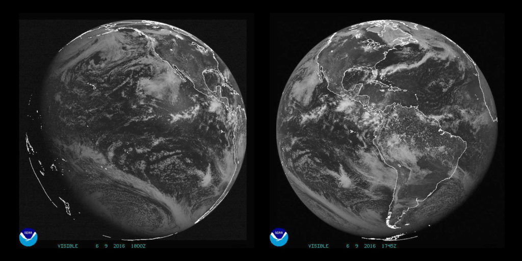 GOES West and East Full Disk Images. Image Credit: NOAA