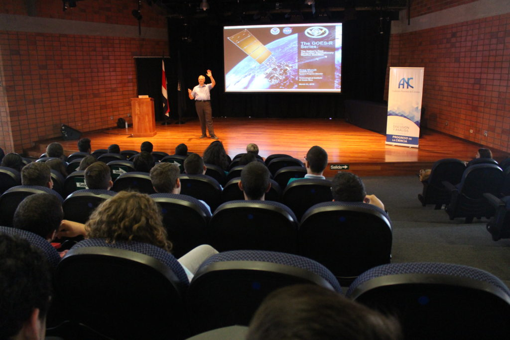 GOES-R System Program Director Greg Mandt addressed the Technological Institute of Costa Rica. Image Credit: TEC