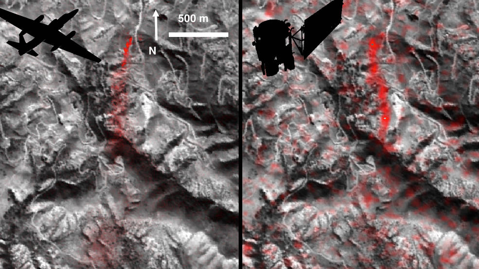 Comparison of detected methane plumes over Aliso Canyon, California, acquired 11 days apart in Jan. 2016 by: (left) NASA's AVIRIS instrument on a NASA ER-2 aircraft at 4.1 miles (6.6 kilometers) altitude and (right) by the Hyperion instrument on NASA's Earth Observing-1 satellite in low-Earth orbit. Image Credit: NASA-JPL/Caltech/GSFC