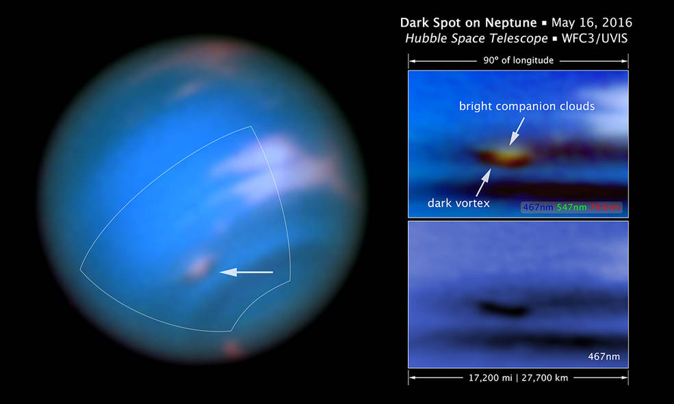This new Hubble Space Telescope image confirms the presence of a dark vortex in the atmosphere of Neptune. The full visible-light image at left shows that the dark feature resides near and below a patch of bright clouds in the planet's southern hemisphere. The full-color image at top right is a close-up of the complex feature. The vortex is a high-pressure system. The image at bottom right shows that the vortex is best seen at blue wavelengths. Image Credit: NASA, ESA, and M.H. Wong and J. Tollefson (UC Berkeley)