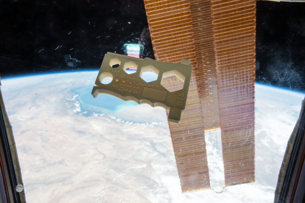 The Mulitpurpose Precision Maintenance Tool, created by University of Alabama in Huntsville student Robert Hillan as part of the Future Engineers Space Tool Challenge, was printed on the International Space Station. It is designed to provide astronauts with a single tool that can help with a variety of tasks, including tightening nuts or bolts of different sizes and stripping wires. Image Credit: NASA