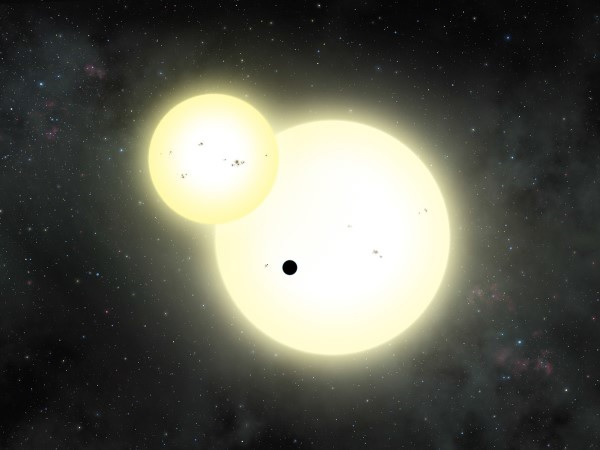 Artist's impression of the simultaneous stellar eclipse and planetary transit events on Kepler-1647. Image Credit: Lynette Cook