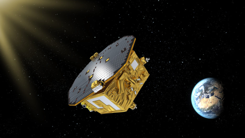 An artist's rendering of LISA Pathfinder on its way to Earth-sun L1. Image Credit: ESA/C. Carreau