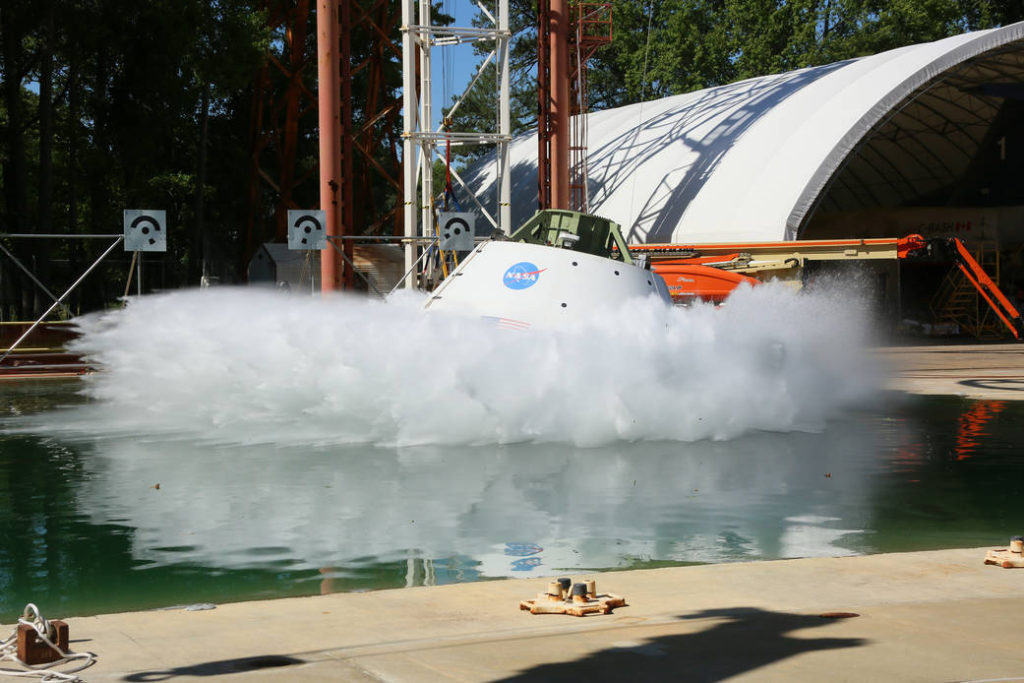 Orion Ground Test Article completed it's first swing splash test at NASA Langley June 8, 2016. Image Credit: NASA