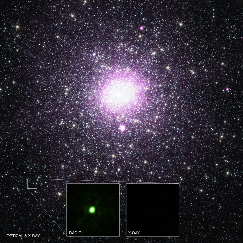 By combining data from Chandra and several other telescopes, astronomers have identified the true nature of an unusual source in the Milky Way galaxy. This discovery implies that there could be a much larger number of black holes in the Galaxy that have previously been unaccounted for. The main panel shows X-rays from Chandra (purple) that have been overlaid on an optical image from Hubble. The insets show the source is bright in radio waves, but can only be giving off a very small amount of X-rays. These pieces of information indicate the source contains a black hole with a few times the mass of the Sun. Image Credit: X-ray: NASA/CXC/Univ. of Alberta/B.Tetarenko et al; Optical: NASA/STScI; Radio: NSF/NRAO/VLA/Curtin Univ./J. Miller-Jones