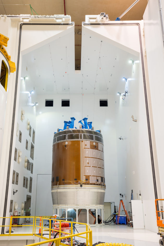 A test version of the Orion service module as been undergoing acoustic and vibration testing at NASA Glenn's Plum Brook Station in Sandusky, Ohio. Image Credit: NASA