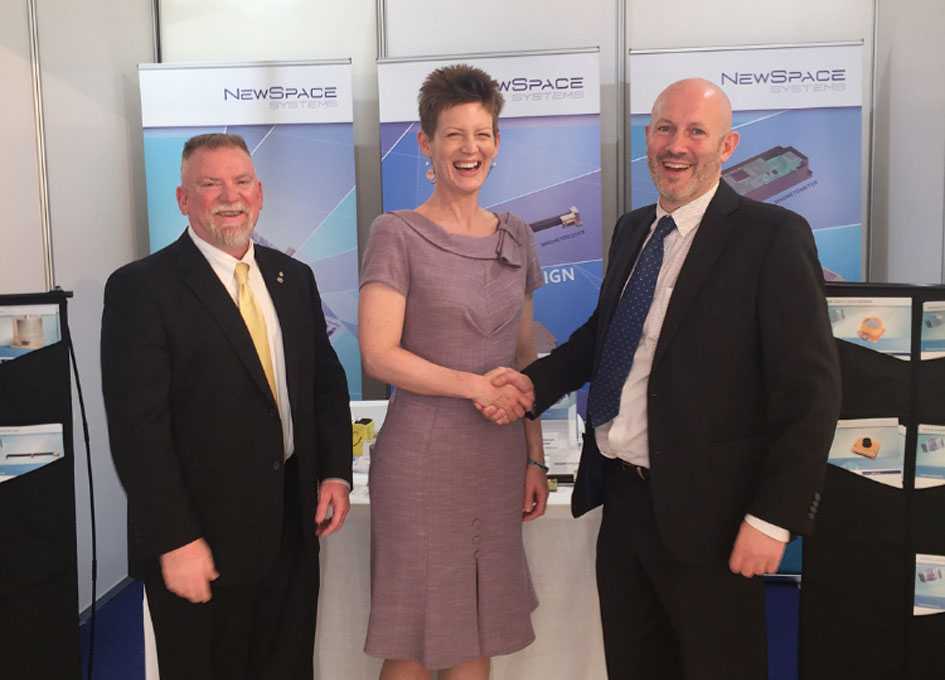 Stanley Kennedy, President of Oakman Aerospace, Maureen S. O'Brien Chief Executive Officer at Oakman Aerospace and James Barrington-Brown, CEO of NewSpace Systems, at the signing of their MoU in Malta earlier this month at the 4S Symposium 2016: The Symposium on Small Satellites for Earth Observation and The Small Satellites Conference. Image Credit: Newspace Systems.