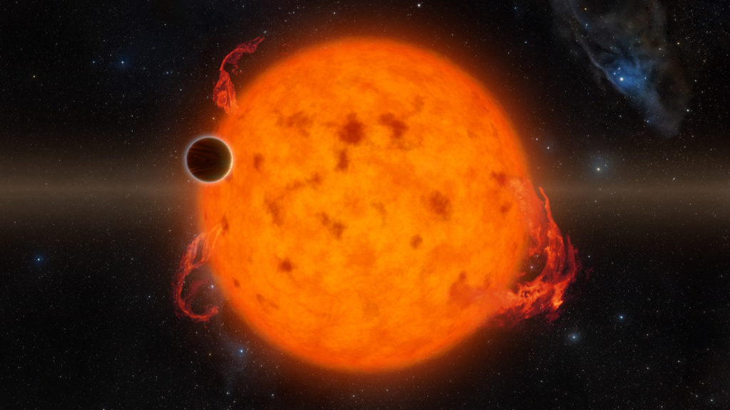 K2-33b, shown in this illustration, is one of the youngest exoplanets detected to date. It makes a complete orbit around its star in about five days. Image Credit: NASA/JPL-Caltech