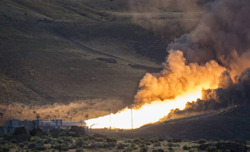 The second and final qualification motor (QM-2) test for the Space Launch System's booster is seen, Tuesday, June 28, 2016, at Orbital ATK Propulsion Systems test facilities in Promontory, Utah. During the Space Launch System flight the boosters will provide more than 75 percent of the thrust needed to escape the gravitational pull of the Earth, the first step on NASA's Journey to Mars. Image Credit: NASA/Bill Ingalls
