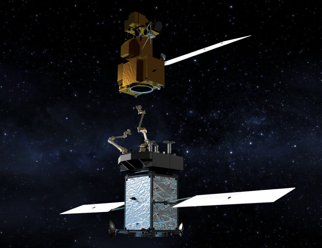 The Restore-L servicer extends its robotic arm to grasp and refuel a client satellite on orbit. Artist's rendering. Image Credit: NASA