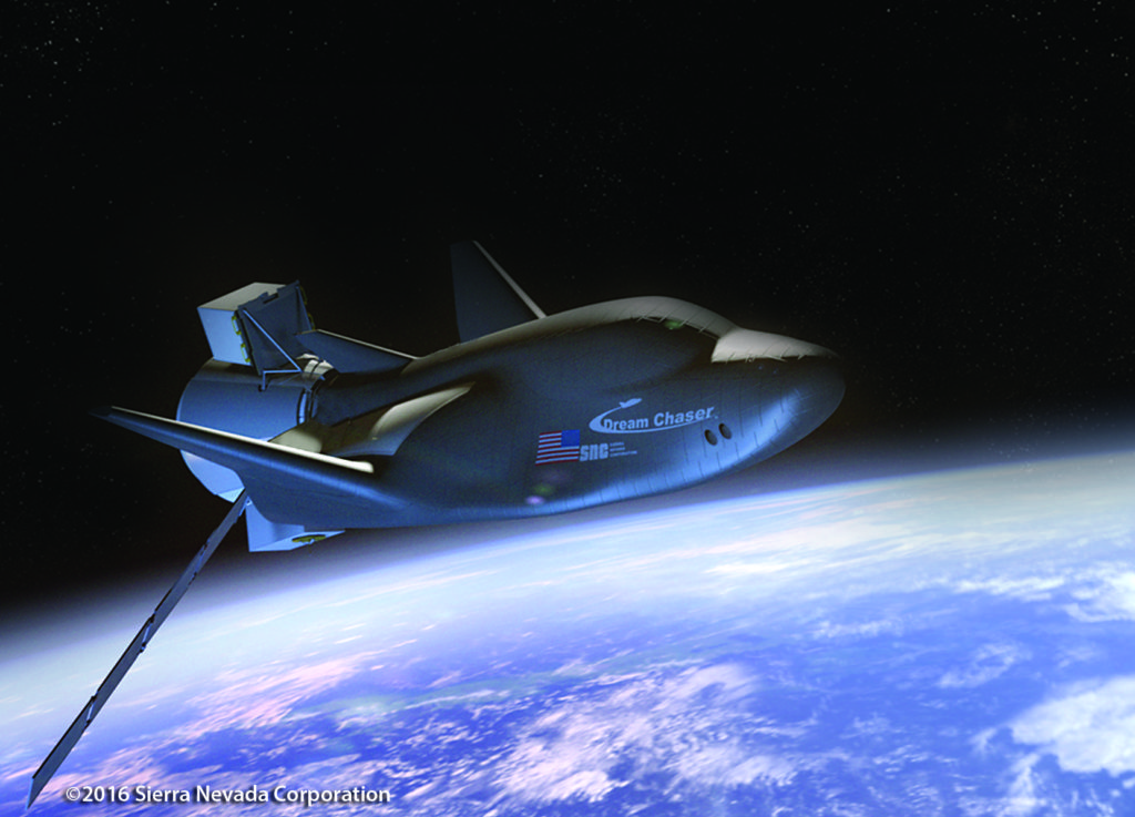 Sierra Nevada Corporation's Dream Chaser spacecraft cargo module in orbit. Image Credit: SNC