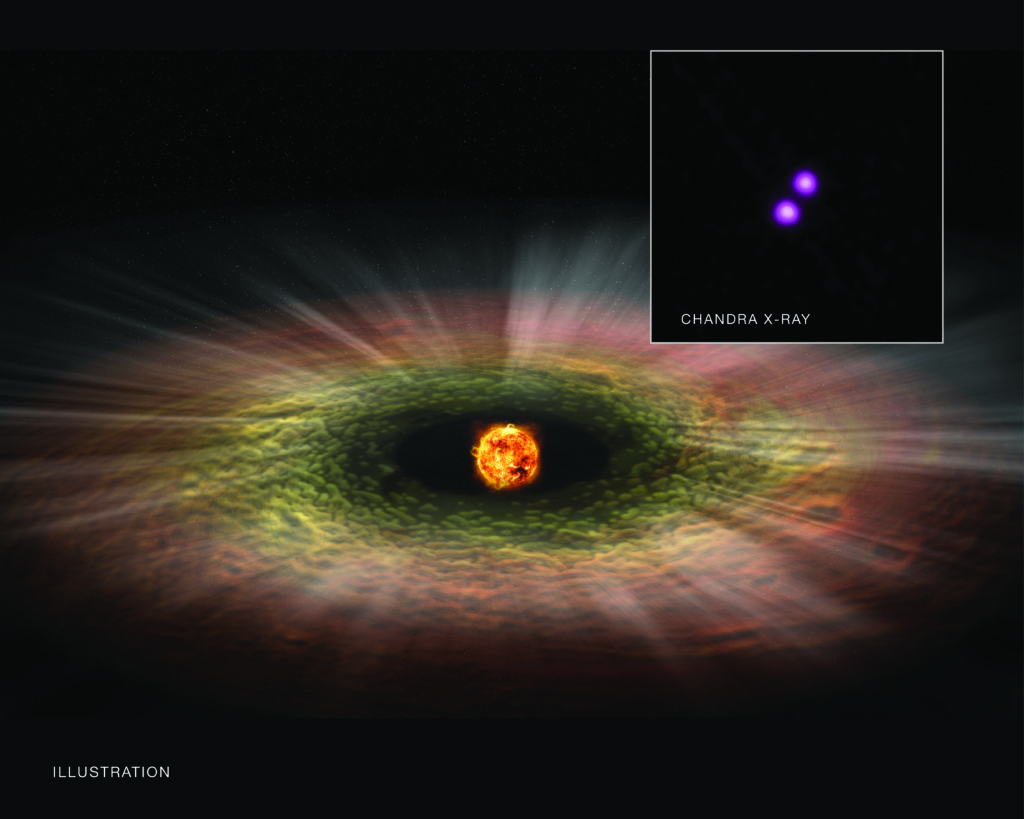 A new study of the TW Hya association suggests that young stars much less massive than the Sun can unleash a torrent of X-rays, which can significantly shorten the lifetime of disks surrounding them. These disks, as depicted in this artist's illustration, are where planets will ultimately form so scientists may have to revisit the star formation process and the early lives of planets around such faint stars. This new finding is based on Chandra observations of TW Hya, a sample of which is seen in the inset, and data from several other telescopes. Image Credit: X-ray: NASA/CXC/RIT/J. Kastner et al; Illustration: NASA/CXC/M.Weiss