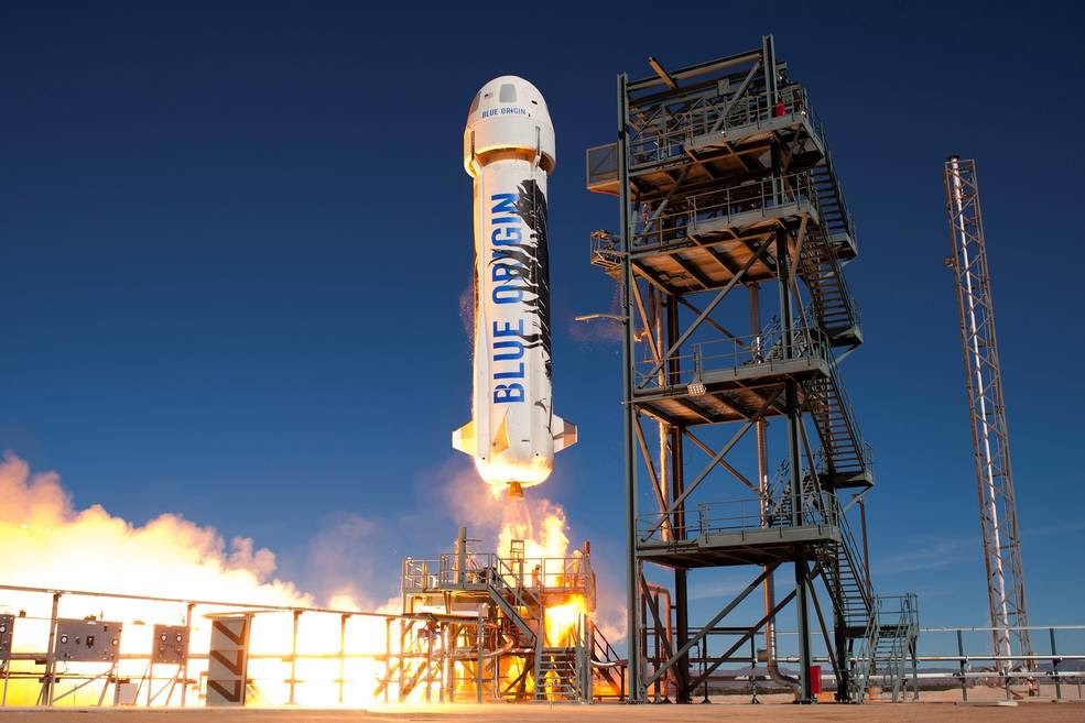 Blue Origin's New Shepard vehicle is seen here taking to the skies from the company's West Texas launch site. Blue Origin is one of six companies that will integrate and fly technology payloads in support of NASA's Flight Opportunities Program. Image Credit: Blue Origin