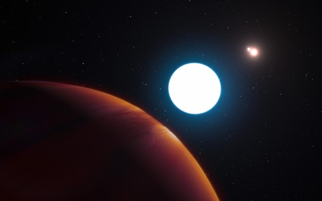This artist's impression shows a view of the triple star system HD 131399 from close to the giant planet orbiting in the system. The planet is known as HD 131399Ab and appears at the lower-left of the picture. Image Credit: ESO/L. Calçada