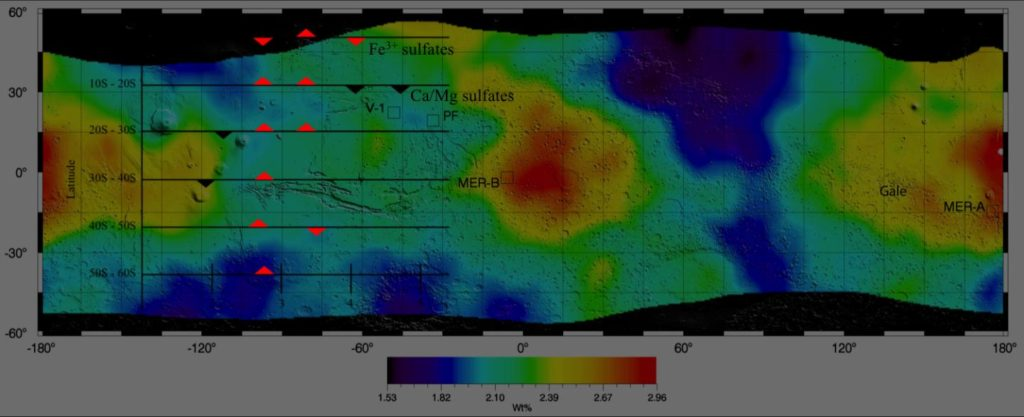 This is a global map of Mars sulfur concentration (as percentage by mass) derived from the 2001: Mars Odyssey Gamma Ray Spectrometer spectra. Overlay shows qualitatively what types of hydrated sulfates are consistent with the variations seen in sulfur and water across the latitudes. Upright triangles indicate peaks in possible sulfate type abundance while the inverted triangles show less prominent values. Image Credit: Nicole Button, LSU Planetary Science Lab