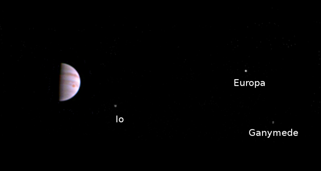 This color view from NASA's Juno spacecraft is made from some of the first images taken by JunoCam after the spacecraft entered orbit around Jupiter on July 4th. The view shows that JunoCam survived its first pass through Jupiter's extreme radiation environment, and is ready to collect images of the giant planet as Juno begins its mission. Click for an un-annotated version. Image Credit: NASA/JPL-Caltech/SwRI/MSSS
