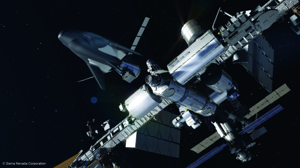 Rendering of SNC's Dream Chaser spacecraft & cargo module in orbit. Image Credit; Sierra Nevada Corporation