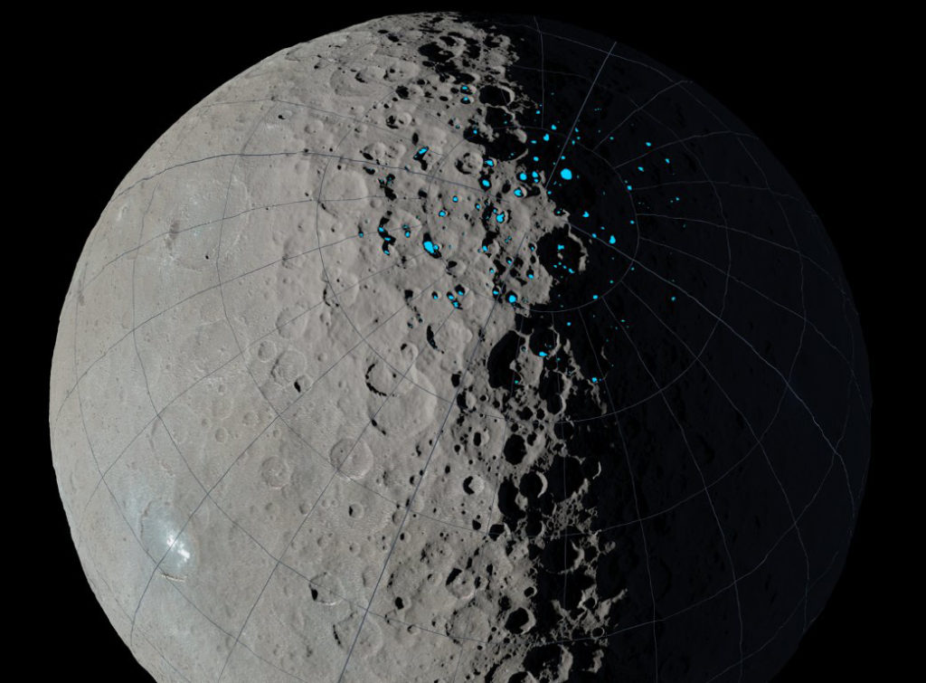 Permanently shadowed regions capable of accumulating surface ice were identified in the northern hemisphere of Ceres using images taken by NASA's Dawn mission combined with sophisticated computer modeling of illumination. Image Credit: NASA/JPL-Caltech