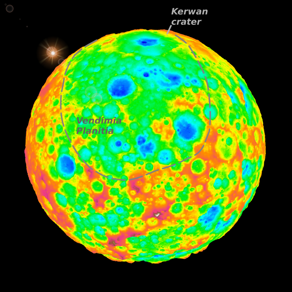 The top of this false-color image includes a grazing view of Kerwan, Ceres' largest impact crater. This well-preserved crater is 280 km (175 miles) wide and is well defined with red-yellow high-elevation rims and a deep central depression shown in blue. Kerwan gradually degrades as one moves toward the center of the image into an 800-km (500-mile) wide, 4-km (2.5-mile) deep depression (in green) called Vendimia Planitia. This depression is possibly what's left of one of the largest craters from Ceres' earliest collisional history. Image Credit: SwRI/Simone Marchi