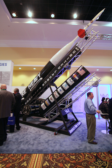 The Future Heavy rocket on display at the Space Foundation's 2016 Space Symposium in Colorado Springs. Image Credit: Colorado Space News