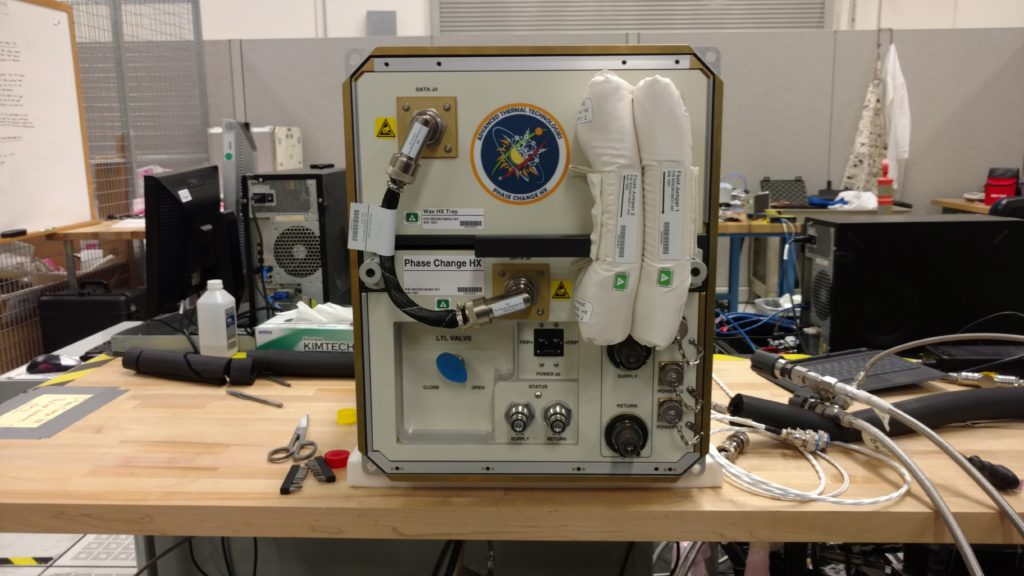 Phase Change Heat Exchanger Demonstration Facility for use on the International Space Station will test use of wax to control temperatures for possible use on the Orion spacecraft. Image Credit: NASA/Rubik Sheth