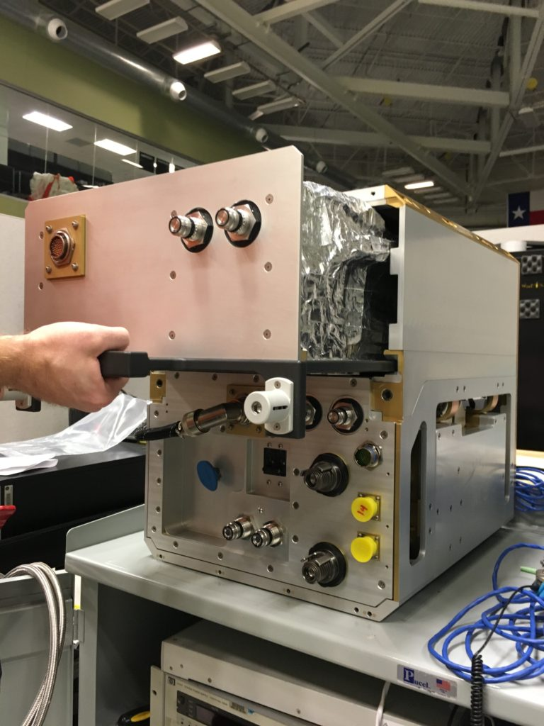 A removable kitchen drawer-like section of the Phase Change Heat Exchanger Demonstration Facility carries some 10-pounds (4.5 kilograms) of wax. Image Credit: NASA/Rubik Sheth