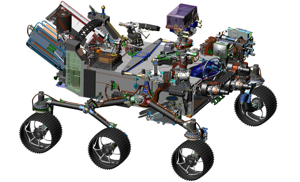 This image is from computer-assisted-design work on the Mars 2020 rover. The design leverages many successful features of NASA's Curiosity rover, which landed on Mars in 2012, but also adds new science instruments and a sampling system to carry out new goals for the 2020 mission. Image Credit: NASA/JPL-Caltech