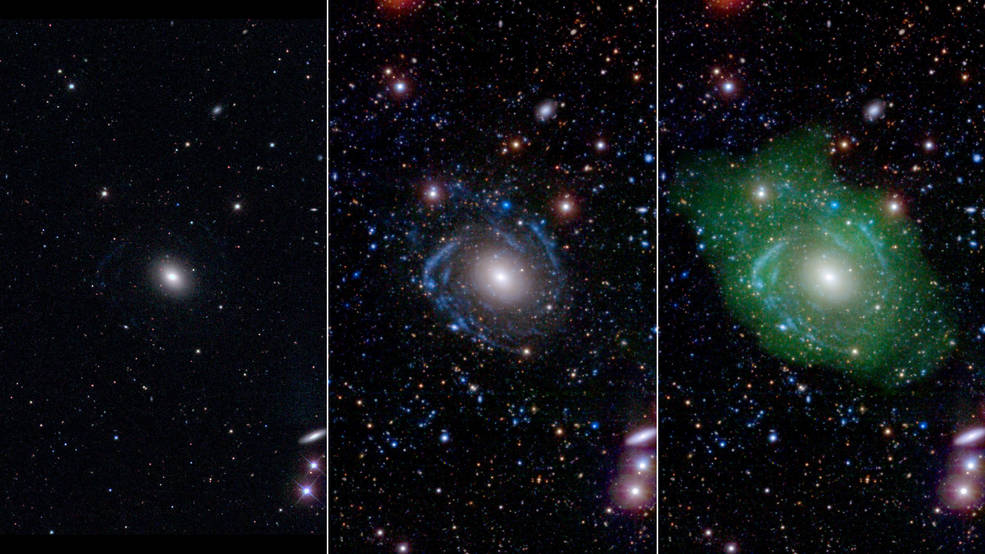 At left, in optical light, UGC 1382 appears to be a simple elliptical galaxy. But spiral arms emerged when astronomers incorporated ultraviolet and deep optical data (middle). Combining that with a view of low-density hydrogen gas (shown in green at right), scientists discovered that UGC 1382 is gigantic. Image Credit:  NASA/JPL/Caltech/SDSS/NRAO/L. Hagen and M. Seibert