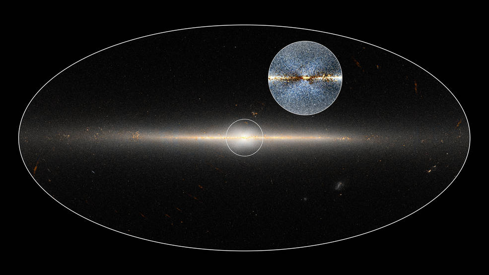In 2010, NASA's Wide-field Infrared Survey Explorer (WISE) mission observed the entire sky twice. Astronomers used these data to point out the X-shaped structure in the bulge of the Milky Way, contained in the small circle at center, as well as the inset image. The circled central portion covers roughly the area of sky that would be blocked by a basketball when held out at arm's length. Image Credit: NASA/JPL-Caltech/D.Lang