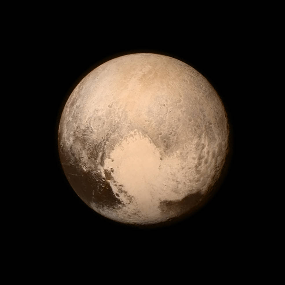 The New Horizons Long Range Reconnaissance Imager (LORRI) captured this iconic image of Pluto on July 13, 2015, when the spacecraft was 476,000 miles (768 kilometers) from the surface. This is the last and most detailed image sent to Earth before the spacecraft's closest approach to Pluto on July 14. The color image has been combined with lower-resolution color information from the Ralph instrument that was acquired earlier on July 13. Image Credit: NASA/APL/SwRI