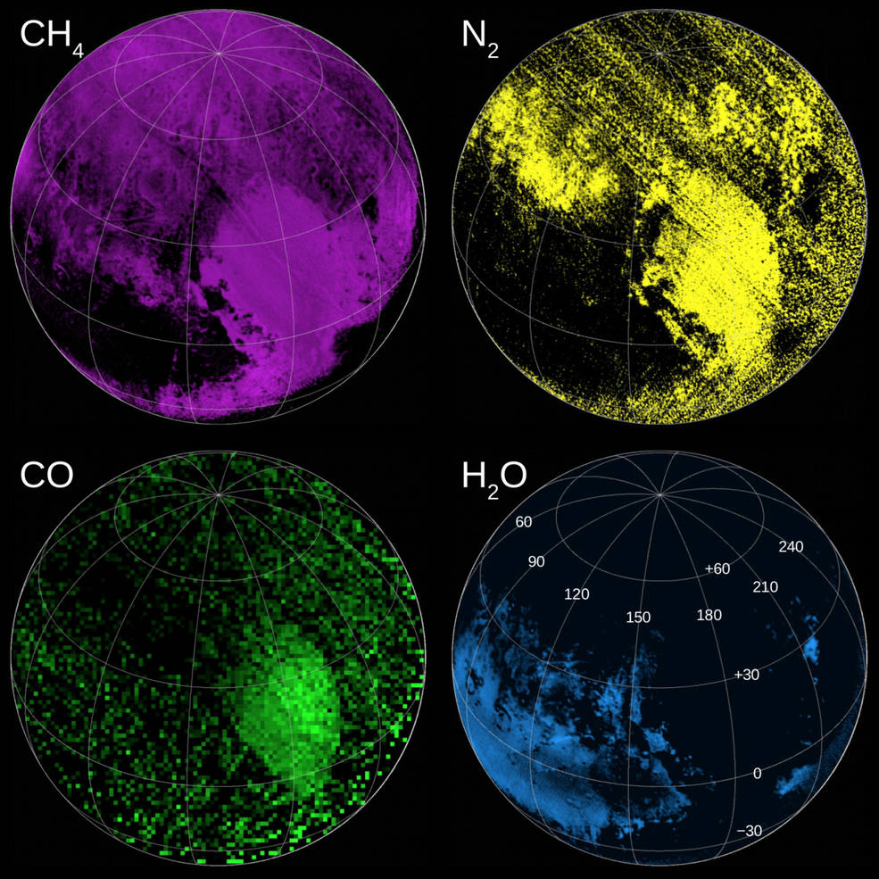 The powerful instruments on New Horizons not only gave scientists insight on what Pluto looked like, their data also confirmed (or, in many cases, dispelled) their ideas of what Pluto was made of. These compositional maps – assembled using data from the Linear Etalon Imaging Spectral Array (LEISA) component of the Ralph instrument – indicate the regions rich in ices of methane (CH4), nitrogen (N2) and carbon monoxide (CO), and, of course, water ice (H2O).