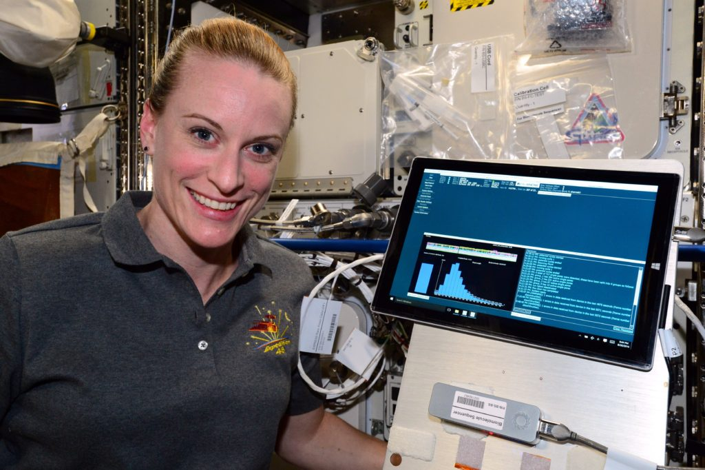 NASA Astronaut Kate Rubins sequenced DNA in space for the first time ever for the Biomolecule Sequencer investigation, using the MinION sequencing device. Image Credit: NASA