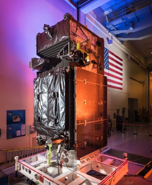 The SBIRS GEO Flight 3 satellite undergoes final preparations at Lockheed Martin. To prepare for its launch, the satellite went through rigorous testing procedures, including thermal vacuum testing at the extreme hot and cold temperatures it will encounter in space. Image Credit; Lockheed Martin