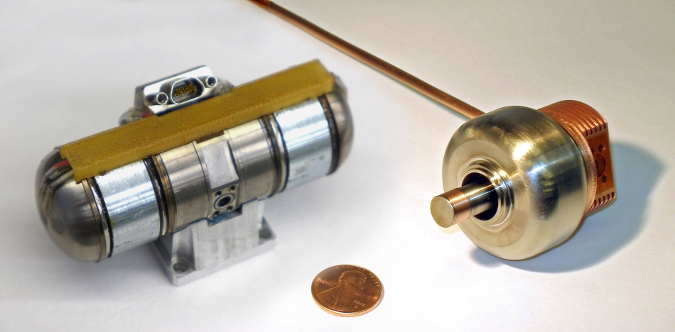 The Fast Cool Down Microcryocooler can cool an IR sensor in 3 minutes. It's ultra-compact, too, with a cold head (right) that's less than half the length of the previous model. Image Credit: Lockheed Martin
