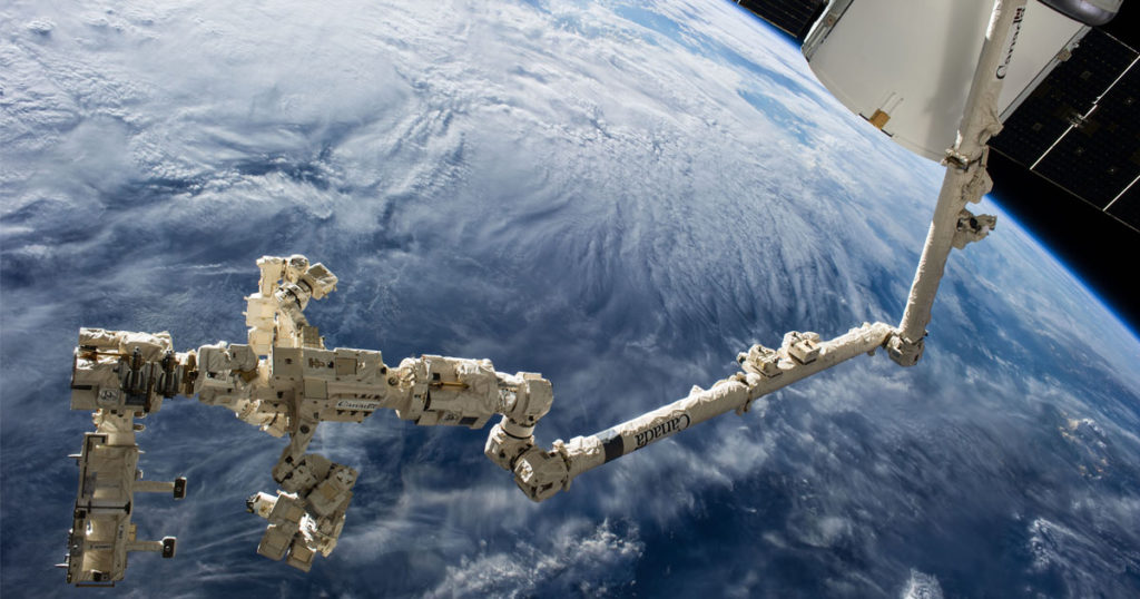The International Space Station's Canadarm2 and Dextre. Image Credit: NASA