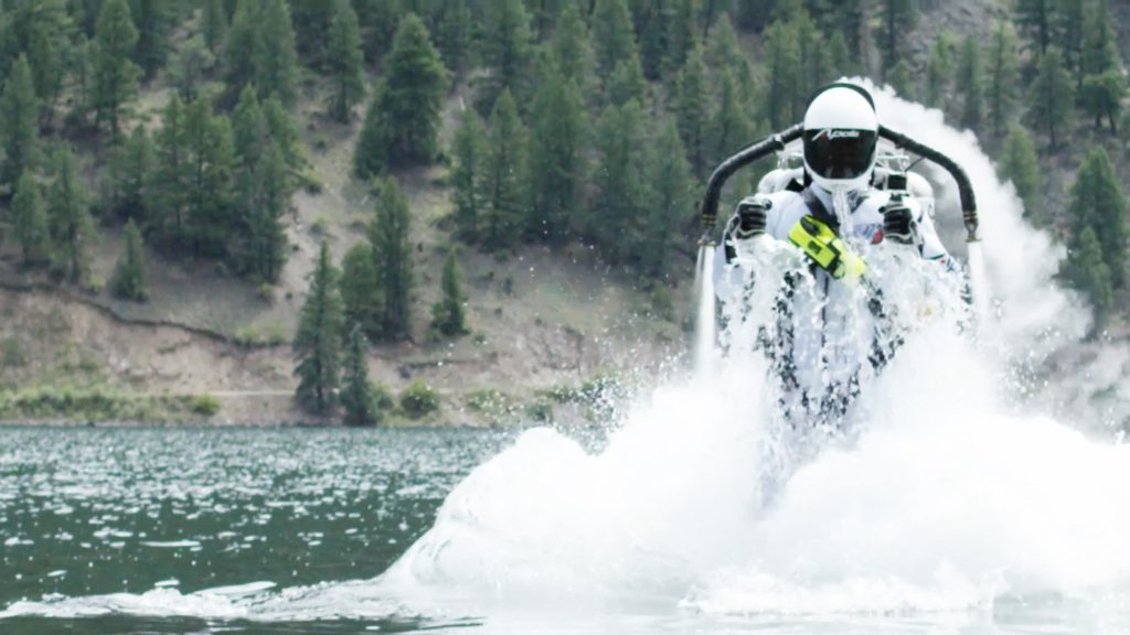 Eric Scott emerged from beneath the waters of Lake San Cristobal and flew straight into the sky. Image Credit: Apollo Jetpack