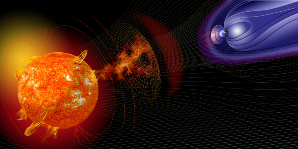 LASP's involvement in space weather research touches on the many and varied impacts that space weather can have on technological systems. The Lab's ongoing efforts contribute to the growing body of knowledge on everything from the Sun-­Earth climate connection to future mitigation of damage caused by severe space weather events. Image Credit: NASA