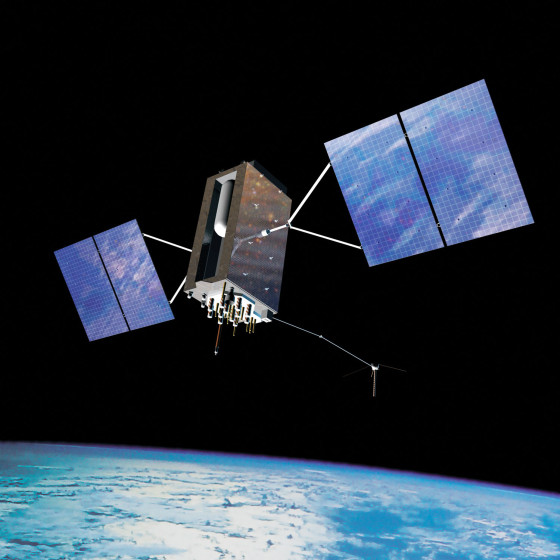 An artist's concept of the next-generation GPS III global position system satellite in orbit above the Earth. Image Credit: USAF