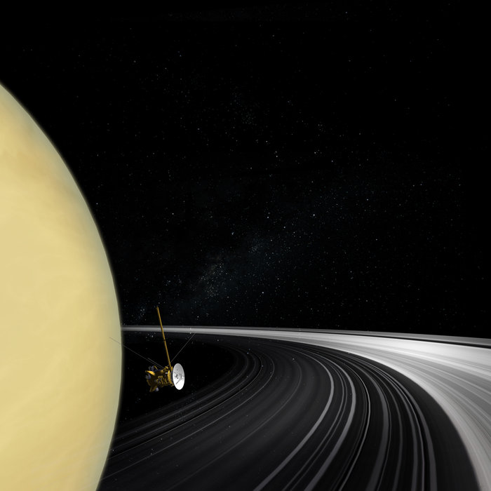 In 2016, NASA's Cassini mission will begin its final 'Grand Finale' and ESA's superbly sensitive deep-space tracking stations will be called in to help gather crucial radio science data. Image Credit: ESA