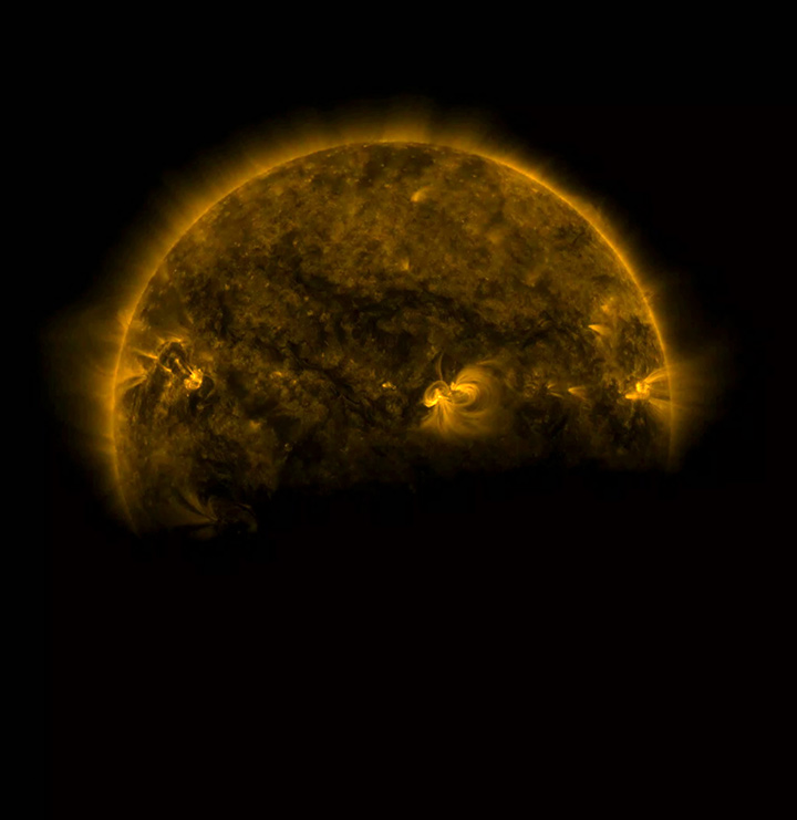 This image, from August 25, 2016 shows that the edge of the Earth is not crisp, but rather fuzzy due to Earth's atmosphere. Image Credit: Solar Dynamics Observatory/NASA