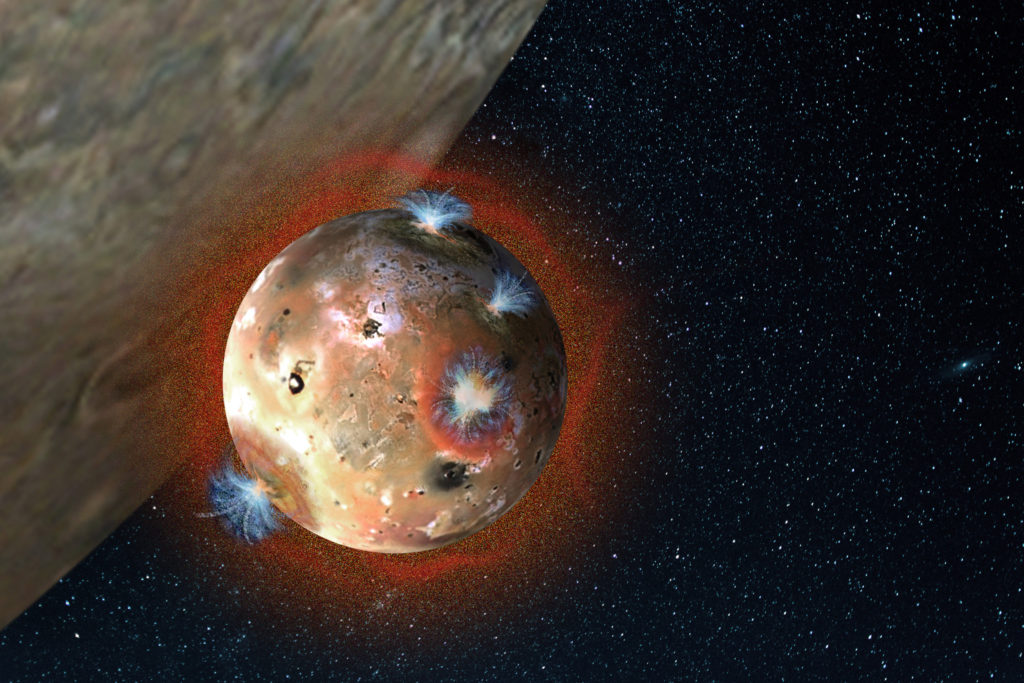 An artist's rendering depicts the atmosphere on Io, Jupiter's volcanic moon, as it collapses during daily eclipses. Image Credit: SwRI