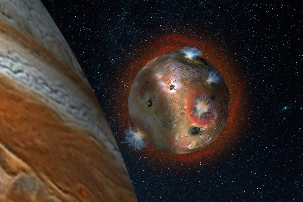 "For two hours of Io's day (1.7 Earth days), it is eclipsed by Jupiter. The temperature drop freezes sulfur dioxide (SO2) gas, causing the atmosphere to ""deflate."" Image Credit: SwRI"