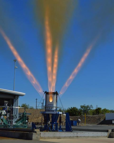 Third development jettison motor for NASA's Orion Launch Abort System fires for 1.5 seconds at Aerojet Rocketdyne's facility in Sacramento, California. Image Credit: Aerojet Rocketdyne, Inc.