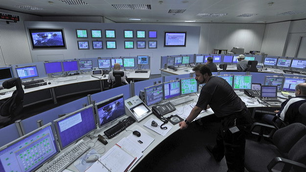 The tracking station control room at the European Space Operations Centre (ESOC) is staffed year-round, 24 hours a day, and provides realtime remote control of all stations in the Agency's worldwide Estrack network. Image Credit: ESA/ J. Mai