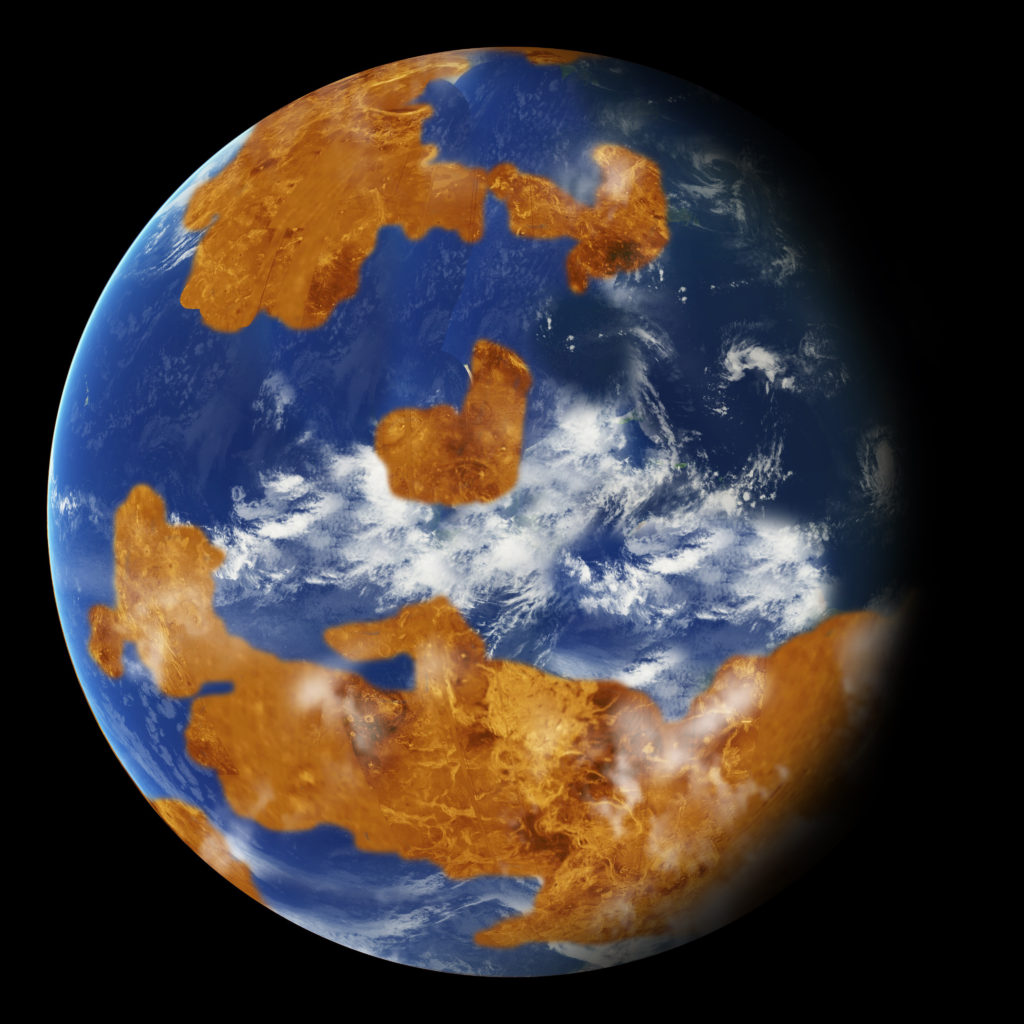 Observations suggest Venus may have had water oceans in its distant past. A land-ocean pattern like that above was used in a climate model to show how storm clouds could have shielded ancient Venus from strong sunlight and made the planet habitable. Image Credit: NASA