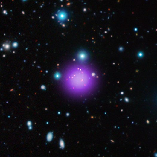 This image contains the most distant galaxy cluster, a discovery made using data from NASA's Chandra X-ray Observatory and several other telescopes.  Image Credit: X-ray: NASA/CXC/Université Paris/T.Wang et al; Infrared: ESO/UltraVISTA; Radio: ESO/NAOJ/NRAO/ALMA