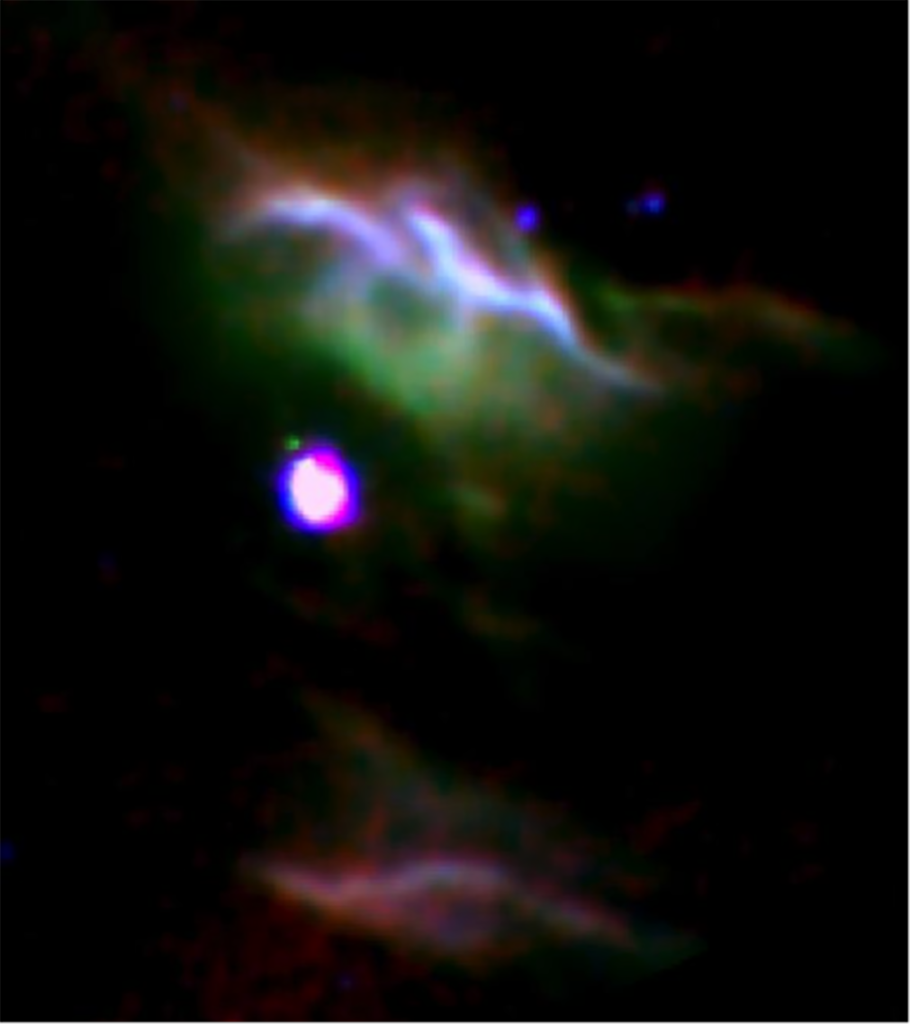 Combination of three color images of NGC 7023 from SOFIA (red & green) and Spitzer (blue) show different populations of PAH molecules. Image Credit: NASA/DLR/SOFIA/B. Croiset, Leiden Observatory, and O. Berné, CNRS; NASA/JPL-Caltech/Spitzer.