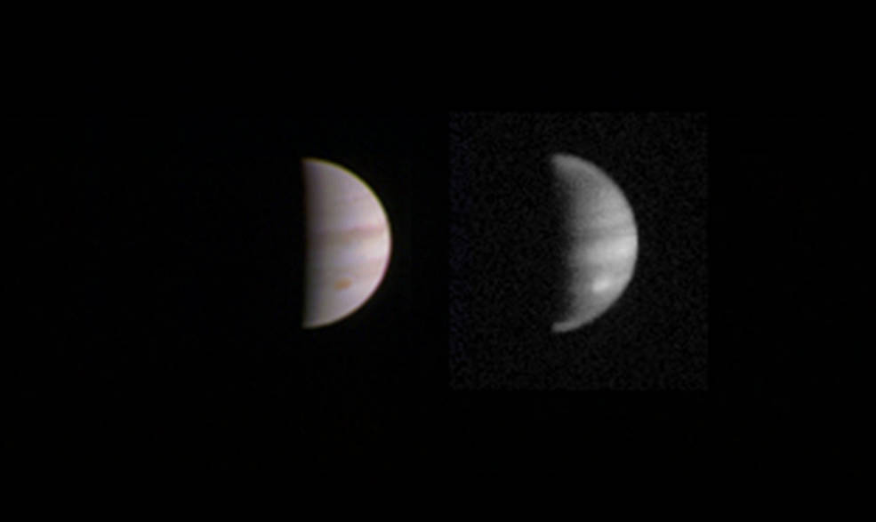 This dual view of Jupiter was taken on August 23, when NASA's Juno spacecraft was 2.8 million miles (4.4 million kilometers) from the gas giant planet on the inbound leg of its initial 53.5-day capture orbit. Image Credit: NASA/JPL-Caltech/SwRI/MSSS