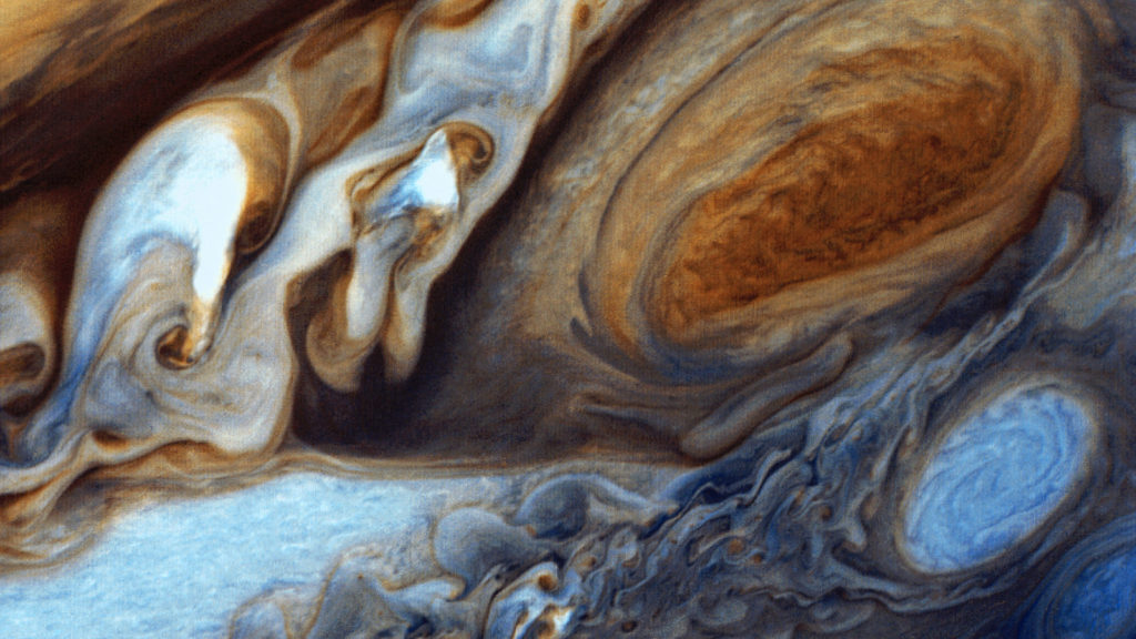 Jupiter's great red spot as viewed by Voyager 1. Image Credit: NASA